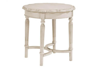 FRENCH INSPIRED ANTIQUE WHITE PIE CRUST SHORT END TABLE