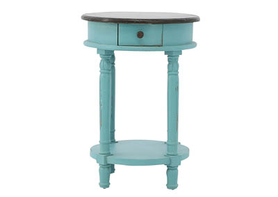CAROLYN TURQUOISE ROUND ACCENT TABLE